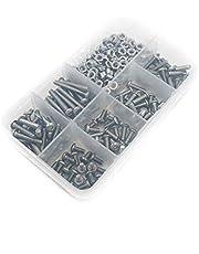 240 Pcs M3-0.50 x 6-20MM Button Metric Thread Hex Socket Head Cap Screws Bolts & Nuts with Storage, Box Allen Socket Drive, 304 Stainless Steel, Full Thread, Plain Finish