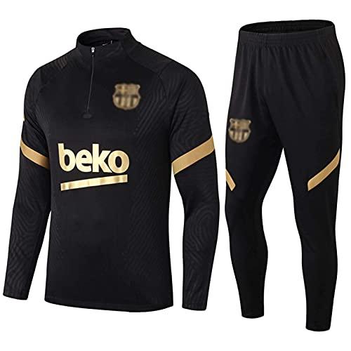 Bǎrcelonǎ Entrenamiento de fútbol Gleits Hombres Traje de Entrenamiento de Jersey de Fútbol Atletico Top de Manga Larga + Pantalones Set de 2 Transpirable Bordado Fútbol Swingman Je(Size:/S,Color:G1)