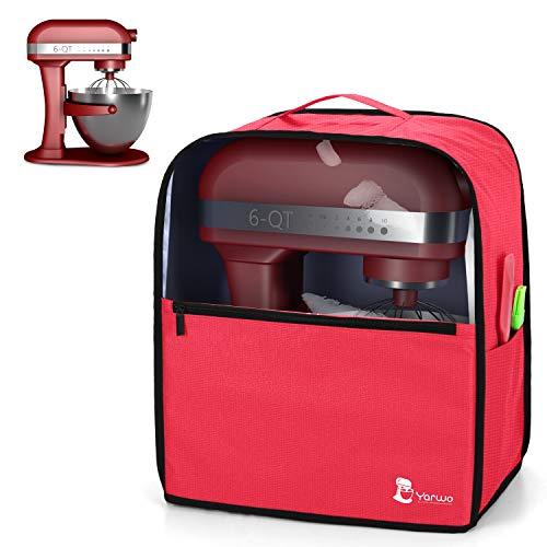 Yarwo Cubierta para Batidoras Amasadoras, Cubierta para KitchenAid Robots de Cocina 5.7 y 7.6 L, Funda Visible para Batidoras Amasadoras, con Asa y Bolsillos, Rojo