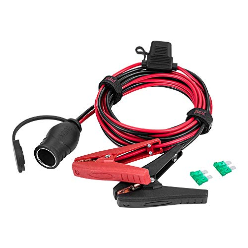 YCIND Battery Alligator Clips Clamp Clip-on to Female Cigarette Lighter Socket Outlet Boost Cable Heavy-Duty 30A Fuse 12V/24V 12AWG Cord 10Ft