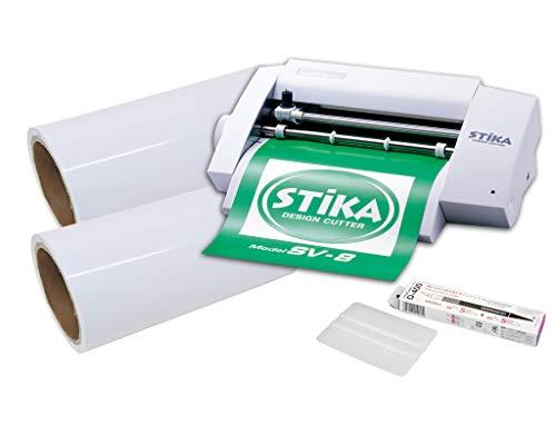 カッティングマシン ステカ SV-8 中長期カッティング用シート 10m 転写シート10m デザインカッター スキージー つきスターターセット (白 ホワイト)