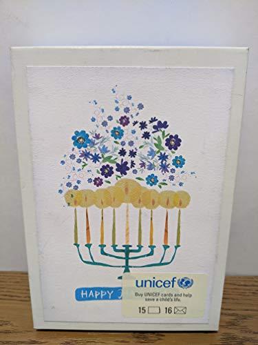 Unicef Boxed Hanukkah Cards Menorrah - 15 Cards 16 envelopes