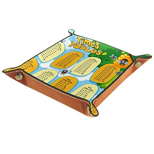 MUMIMI Plato cuadrado de cuero para mujeres y niñas, bandeja para joyas, diseño de mesas de tiempo con abejas volando regalo de cumpleaños para el día de la madre