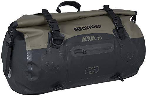Oxford Aqua T30 Motorcycle Roll Bag Khaki/Black Bike Luggage Waterproof