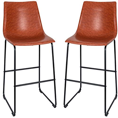 Set of 2 Armless Counter Height Barstools Chair,Vintage Faux Leather Bar Stools Pub Kitchen Chairs,Upholstered Dining Room Furniture,Brown (Set of 2, Leather-Brown)