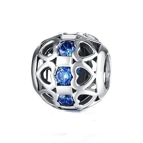 GW Charms Corazón Plata Ley 925 con Azul Swarovski Cristal para Pandora Pulsera para Acción de Gracias