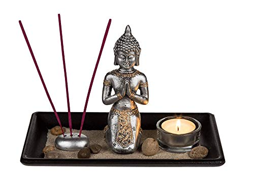 Invero Modernes Buddha-Ornament Statue Dekoration Set Brenner – Holztablett, Glas-Teelichthalter, 3 Räucherstäbchen mit Halter, Steinen und Dekor Sand – Schwarz
