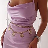 Cosydays Boho Belly Chain Gold Coin Pendant Body Chain Elizabeth Beach Chain Bikini Waist Sexy Party Body Chain Jewelry for Women and Girls