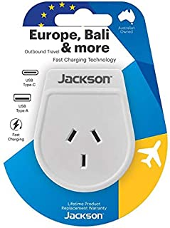 Jackson Outbound Travel Adapter with USB-A/C Ports (Europe/Bali)