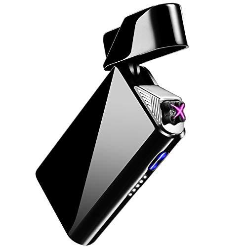 AngLink Mechero Electrico, Encendedor USB Doble Arco Eléctrico - Mechero Recargable y Resistente al Viento con Indicación de Batería para Cigarrillos Velas Cocina (Caja de Regalo)