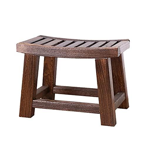 Taburete de madera envejecida, taburete de madera envejecida, muebles de Paulownia, sala de estar, portátil, pequeño taburete de madera, varios usos (color: marrón, tamaño: 28 x 22 x 40 cm)