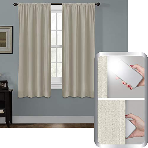 Maytex Smart Curtains Julius 100 Percent Blackout Window Panel, 50 inches x 63 inches, Linen