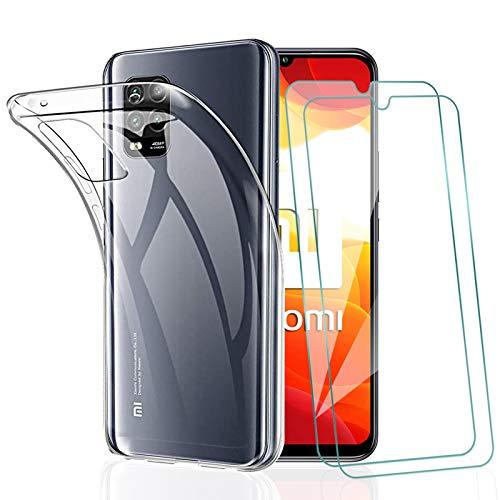 KEEPXYZ Funda para XiaomiMi10Lite 5G + 2 Pcs Protector de Pantalla para Mi10Lite 5G Cristal Templado, Flexible Suave Silicona Transparente TPU Carcasa + Vidrio Templado para XiaomiMi10Lite 5G