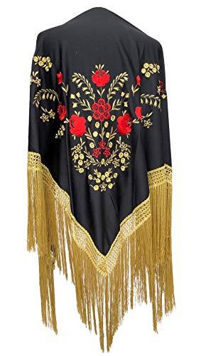 La Señorita Mantones bordados Flamenco Manton de Manila negro rojo oro flecos oro Large