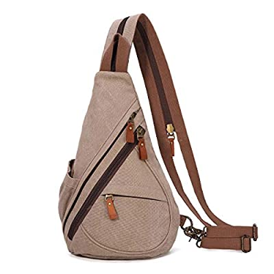 Canvas Sling Bag - Small Crossbody Backpack Shoulder Casual Daypack Rucksack for Men Women Outdoor Cycling Hiking Travel (Khaki)