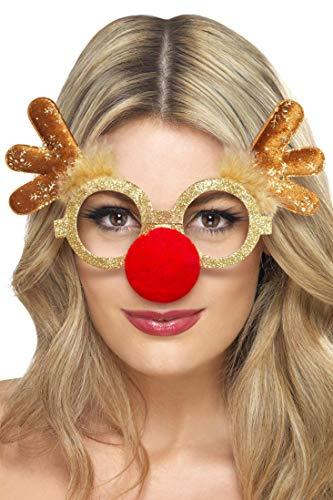 Lustige Rentier Brille mit roter Nase für Damen und Herren für die Weihnachtszeit