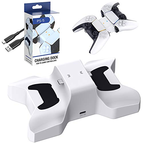 Benazcap Cargador Mando PS5,Accesorios de la Estación de Recarga Dual para el Mando PS5,con Lndicador de Luz,Blanco