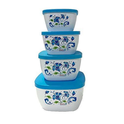 G & D bak, set met 4 voedselcontainers met meerkleurig deksel, geschikt voor magnetron, vaatwasser en vriezer, multifunctionele bak, schotels, broodtrommel met deksel, vierkant