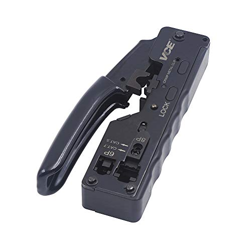 VCE GJ669BK Crimpzange RJ45 Stecker Werkzeug für RJ45 Stecker Netzwerkwerkzeug Cat 7 Cat 6A