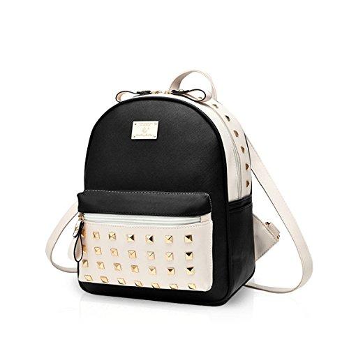 Nicole&Doris New School Taschen Rucksack Frauen Handtaschen Reisetasche Satchel Metall Mode PU-Leder
