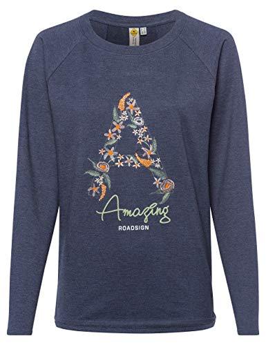ROADSIGN Australia Damen Sweatshirt | Sweatpullover mit Blumen Print | Navy, L