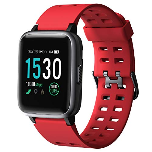 Arbily Smart Watch for Android Phone iPhone, Smartwatch with Heart Rate Monitor Waterproof Swimming Smart Watch with Sleep Tracker Pedometer Step Calorie Counter,Smart Watches for Women Men Kids,Red