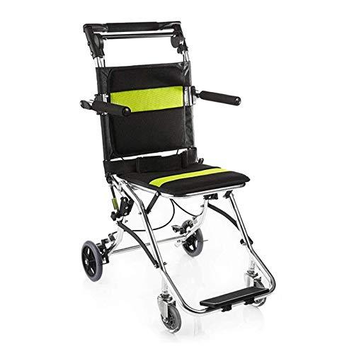 ZWYSL Kleiner Folding-Reise-Rollstuhl Leichter, manueller Rollstuhl for MS ältere und deaktivierte Licht tragbar (Color : Green)