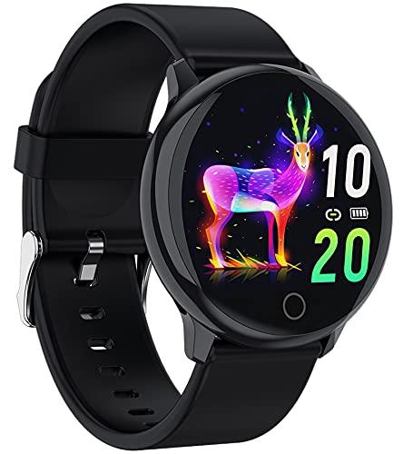 Smartwatch Damen Herren Pulsuhr Sport Fitness Armband Uhr mit Blutdruckmessung Fitnessuhr Schrittzähler Frauen Schlaf Tracker Wasserdicht IOS Android Smart Watch