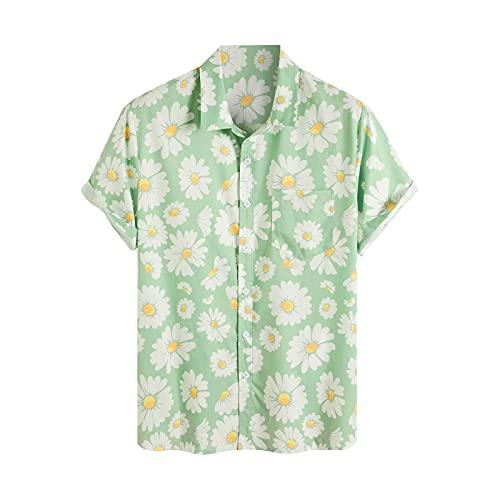 Camisa de hombre a rayas, camisa hawaiana, camisa de manga corta, con botones, cuello vuelto, camisas de playa camisas de ocio D_verde. XXL