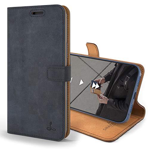 Snakehive iPhone 12 Pro Schutzhülle/Klapphülle echt Lederhülle mit Standfunktion, Handmade in Europa für iPhone 12 Pro (Blau)