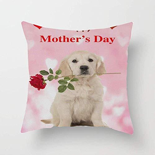 N\A Corazón Perro Rosa Feliz día de la Madre Funda de Almohada Personalizada Funda de Almohada para sofá Dormitorio Coche