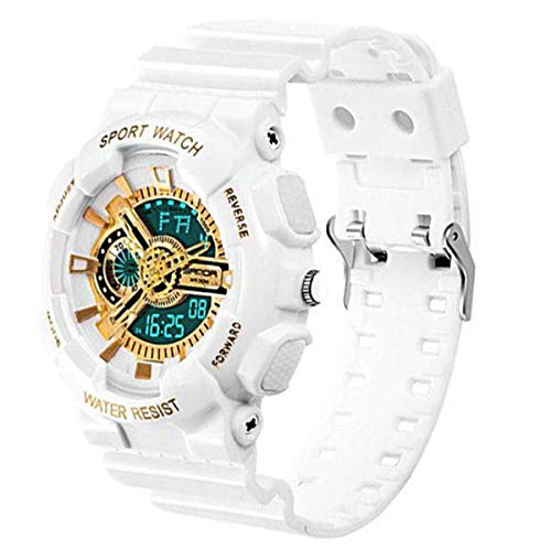 Boys Waterproof Watch with Alarm Chronograph Electronic Outdoor Sport Wrist Watch White+Gold