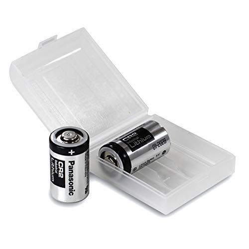 2X Panasonic Industrial CR2 3V Lithium Batterie in praktischer Batteriebox von Weiss - More Power +
