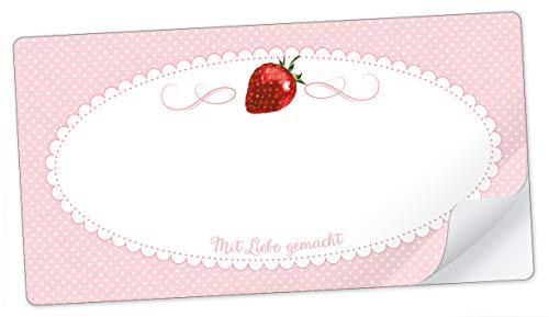 10 STICKER RECHTECKIG ROSA Erdbeere