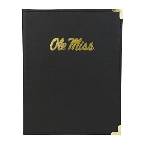 Samsill NCAA University of Mississippi (Ole Miss) Rebels Classic Collection Business Portfolio with Brass Corners, Gold Foil Stamp Logo, Letter Size Lined Writing Pad, Black