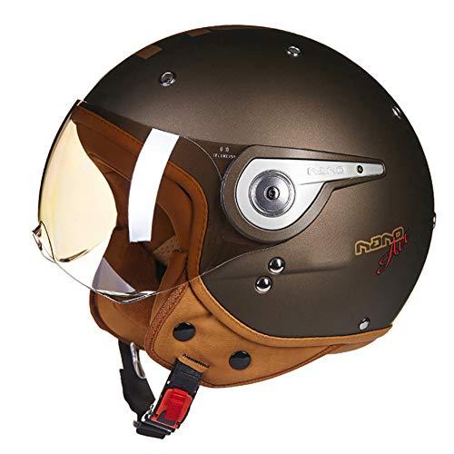 Casco De Moto Medio Casco De Colisión De Motociclista Medio Casco Abierto De Piel, Scooter Universal para Moto Medio Casco Abierto,Marrón,L