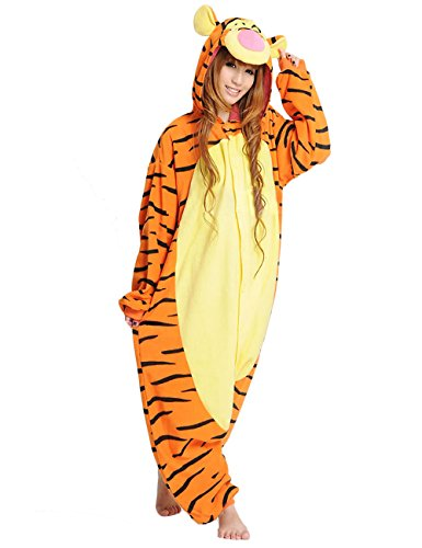 Hallowitch Tigger Ferkel Winnie Group Onesie Kostüm für Erwachsene Herren Damen und Jugendliche - Orange - Medium / Large