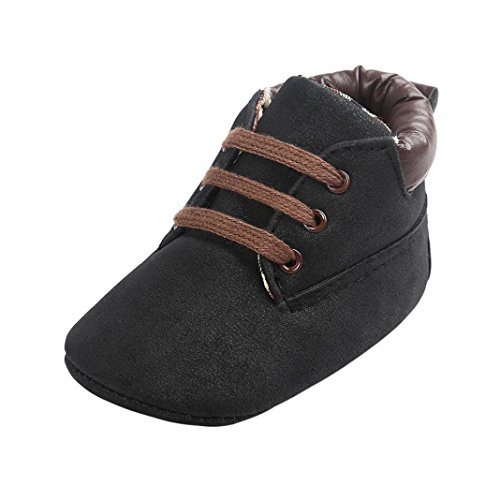 FNKDOR Baby Jungen Mädchen Lauflernschuhe rutschfest Weiche Schuhe für Neugeborene 0-18 Monate (6-12 Monate, Schwarz)