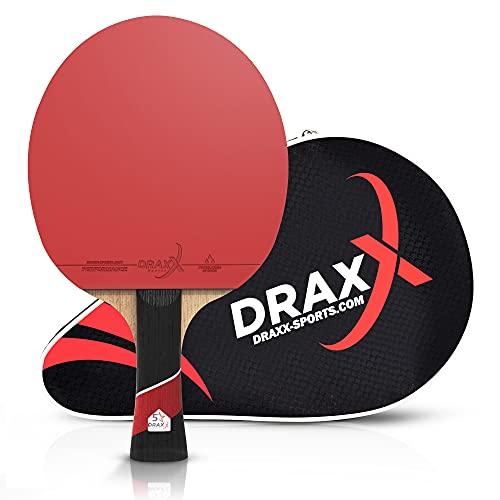 Racchetta da ping pong DRAXX PRO CARBON | 5 stelle | Racchetta da ping pong professionale per allenamento e competizione | compatibile con tutte le palline | gomma regolamentare premium