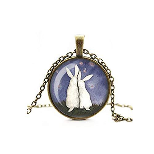 Sunshine Moongazing Hares collar, Wiccan colgante, dos liebres blancos en amor, bruja, arte digital, camafeo de cristal, collar de azulejos