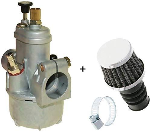 Tuning Set: 15mm 2-takt carburateur (1/15/46) + 19mm sportluchtfilter - voor Hercules - Puch - Zündapp - Kreidler - KTM - DKW - bromfiets bromfiets