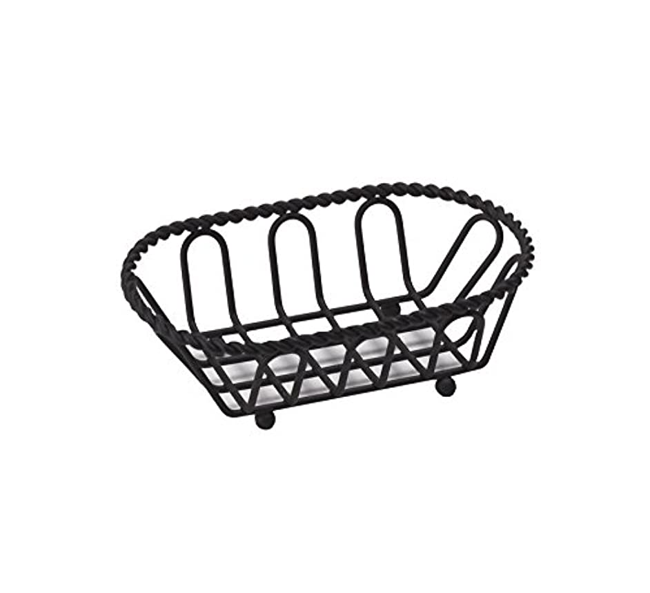 G.E.T. Enterprises Black Oblong Braided Rim Metal Wire Basket Iron Powder Coated Wire Baskets Collection 4-33453 (Pack of 1)