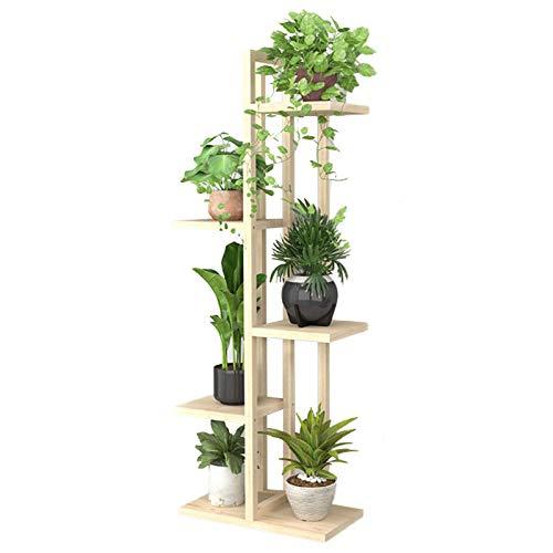 Estante de exhibición de flores Soporte de planta de múltiples capas para interiores - Poticion de macetas de madera natural Pantalla Pantalla Pantalla de escalera para plantas altas / suculentas para