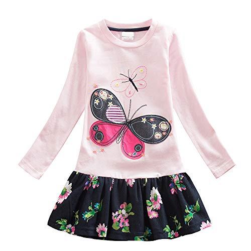 VIKITA Mädchen Blumen Langarm Baumwolle Kleid EINWEG LH5460PINK 8T