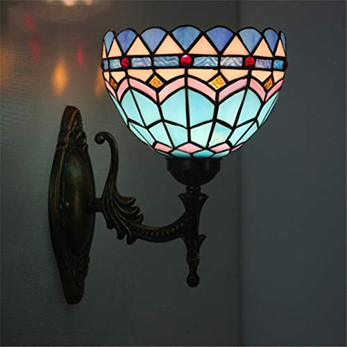 GUALA Tiffany Wandlampe Kreative mediterrane Blau-Buntglas-Wand-Licht-Leuchter für Wohnzimmer Küche Dekorative Lampen- 20CM / 8 in,B
