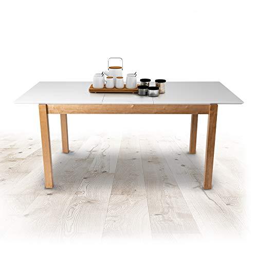 Küchentisch Esszimmertisch Ausziehbar Esstisch Erweiterbare Auszugsplatte Tisch mit Einlegeplatte Ausziehtisch Massivholz für Esszimmer 1000 + 400 x 700 x 750 mm Modell Dorado