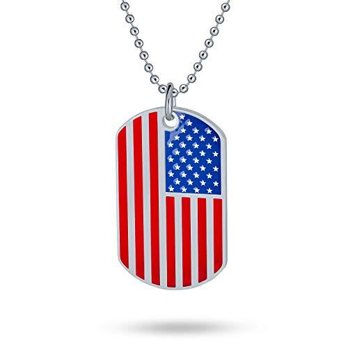 Bling Jewelry Estrellas Y Rayas Personalizado USA Patriótica Bandera Americana Placa Collar...
