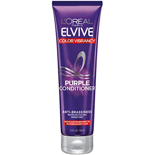 L'Oreal Paris Elvive Color Vibrancy Anti-Brassiness Purple Conditioner for Color Treated Hair, neutralizes Yellow & Orange Tones, Highlighted Brunette, Blonde & Grey Hair, 5.1 Fl. Oz