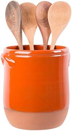 Palais Essentials Ceramic Utensil Crock Utensil Holder Orange with Natural Bottom 7 5 High product image