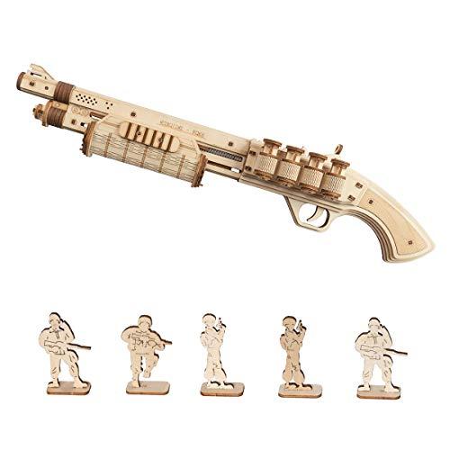 Robotime Toys Gun - Kit de construcción mecánica Modelo 3D Puzzle de Madera para niños de 14 años (Terminator M870)